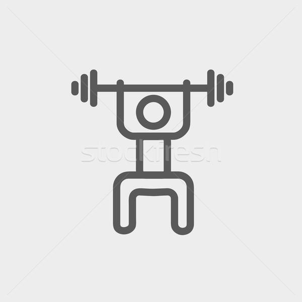 Stock fotó: Súlyemelő · férfi · súlyzó · vékony · vonal · ikon