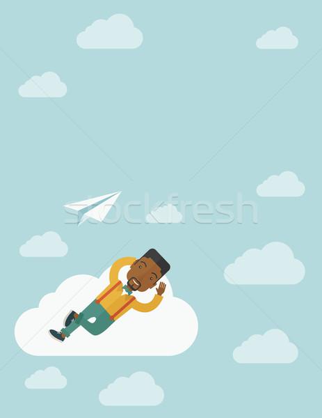 黒人男性 雲 紙 平面 リラックス 現代の ストックフォト © RAStudio