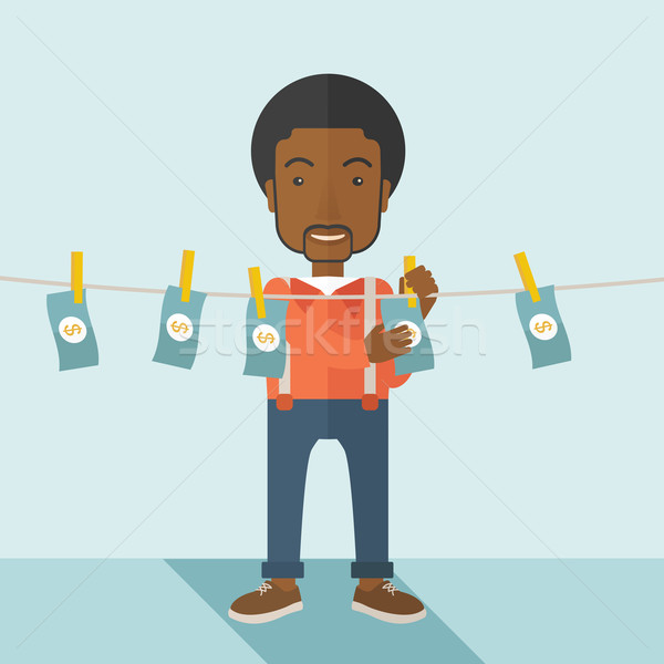 Black buisnessman hang his money. Stock photo © RAStudio