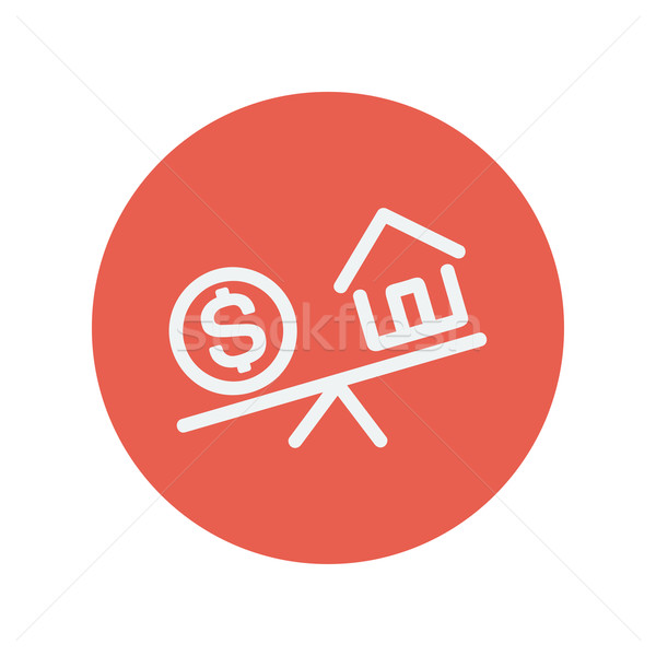 Compare or exchange house to money thin line icon Stock photo © RAStudio