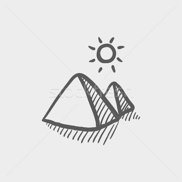 The pyramids of giza sketch icon Stock photo © RAStudio