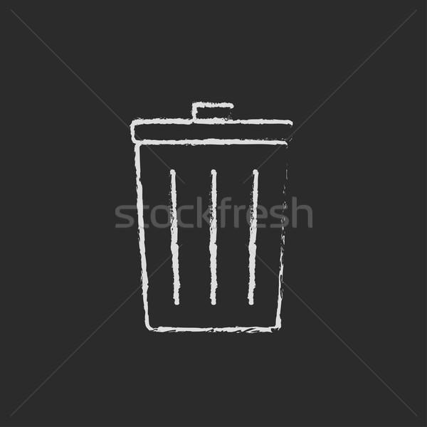Mülleimer Symbol gezeichnet Kreide Hand gezeichnet Tafel Stock foto © RAStudio