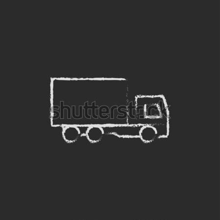 Yakıt kamyon ikon tebeşir Stok fotoğraf © RAStudio