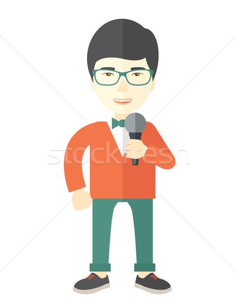 Verslaggever asian groene bril Stockfoto © RAStudio
