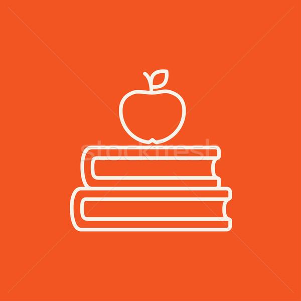ストックフォト: 図書 · リンゴ · 先頭 · 行 · アイコン · ウェブ