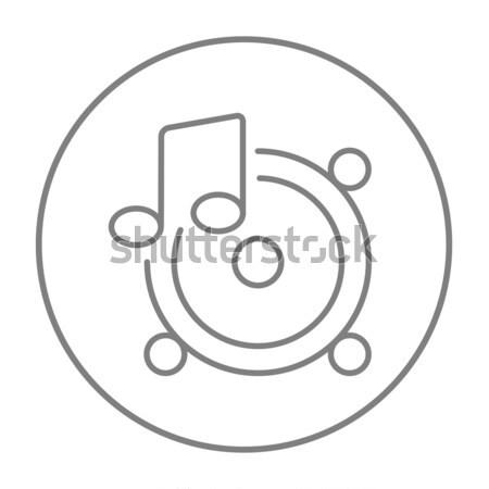 Loudspeakers with music note line icon. Stock photo © RAStudio