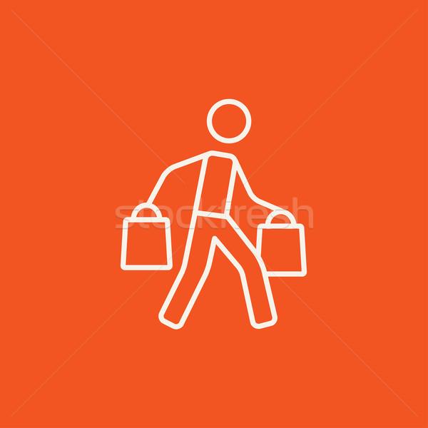 Man lijn icon web Stockfoto © RAStudio