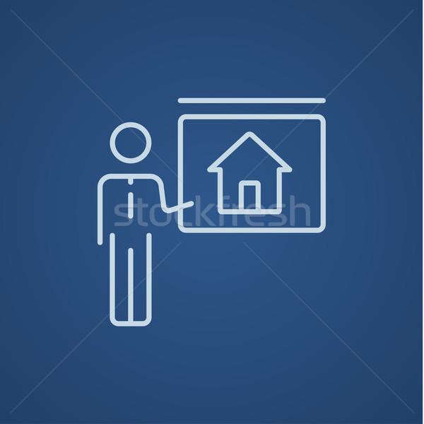Agente immobiliare casa line icona web Foto d'archivio © RAStudio
