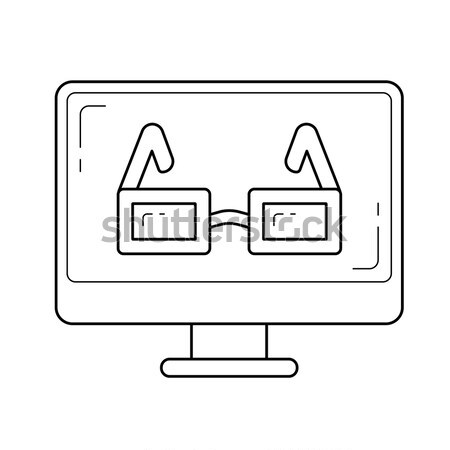 очки Компьютерный монитор линия икона веб мобильных Сток-фото © RAStudio