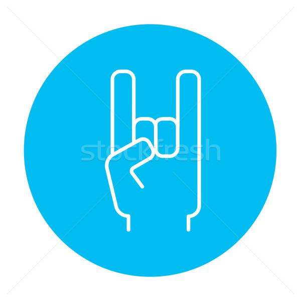 рок катиться рукой знак линия икона веб Сток-фото © RAStudio