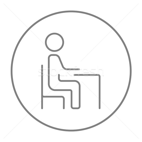 Student sitting on chair at the desk line icon. Stock photo © RAStudio