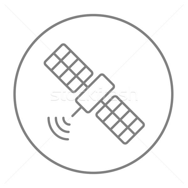 спутниковой линия икона веб мобильных Инфографика Сток-фото © RAStudio
