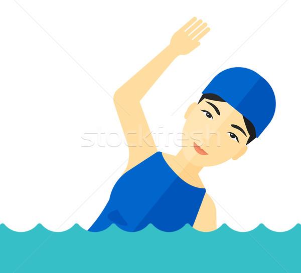 Pływak szkolenia basen asian cap Zdjęcia stock © RAStudio