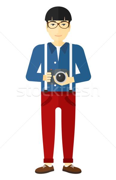Foto stock: Sorridente · fotógrafo · câmera · asiático · vetor