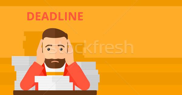 Férfi probléma határidő ijedt hipszter szakáll Stock fotó © RAStudio