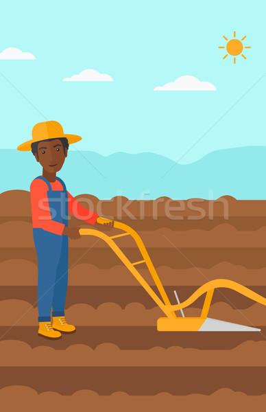 Agricultor campo hombre agrícola vector Foto stock © RAStudio