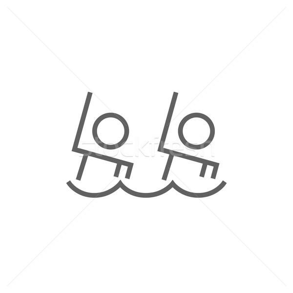 Synchronized swimming line icon. Stock photo © RAStudio