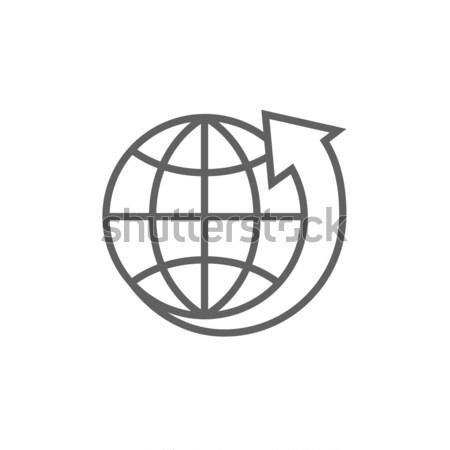 地球 矢印 周りに 行 アイコン コーナー ストックフォト © RAStudio