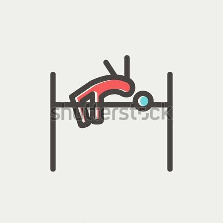Hoogspringen lijn icon hoeken web mobiele Stockfoto © RAStudio