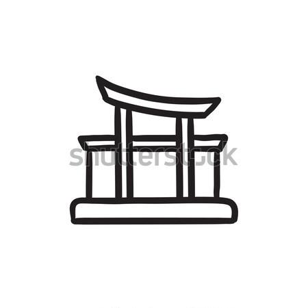Portão linha ícone teia móvel Foto stock © RAStudio