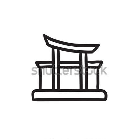 Poort lijn icon hoeken web mobiele Stockfoto © RAStudio