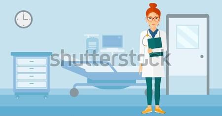 Beteg kórházi ágy ázsiai férfi kórház szívritmus Stock fotó © RAStudio