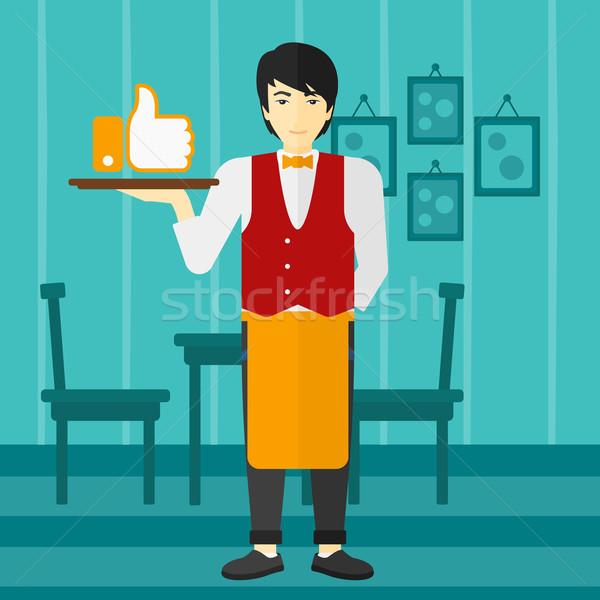 Waiter with like button. Stock photo © RAStudio