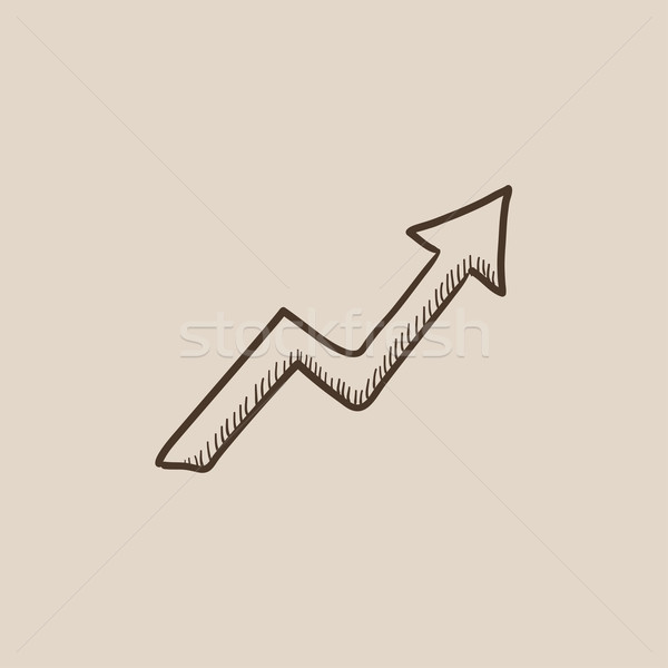 Stock photo: Arrow upward sketch icon.