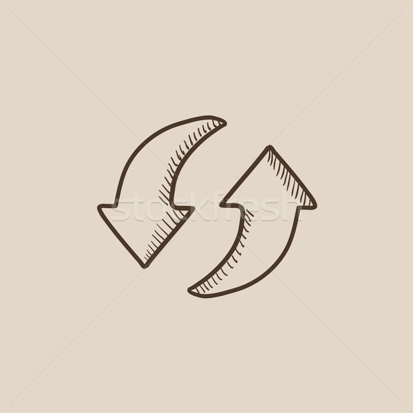 Two circular arrows sketch icon. Stock photo © RAStudio