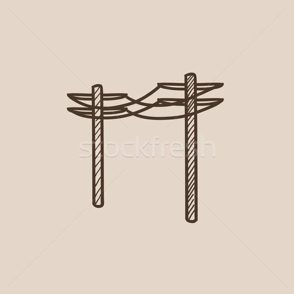 высокое напряжение эскиз икона веб мобильных Сток-фото © RAStudio