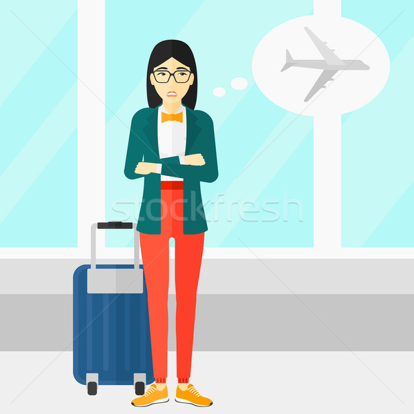 Woman frightened by future flight. Stock photo © RAStudio