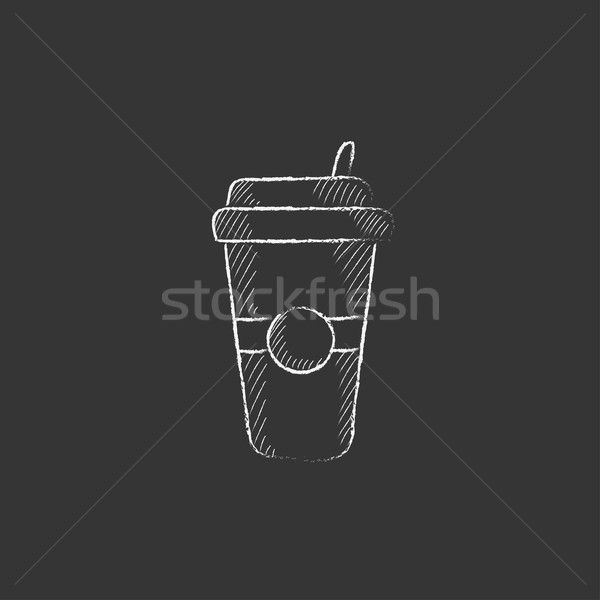 Disposable cup with drinking straw. Drawn in chalk icon. Stock photo © RAStudio