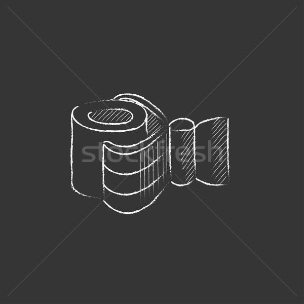 Industrial mechanical robot arm. Drawn in chalk icon. Stock photo © RAStudio