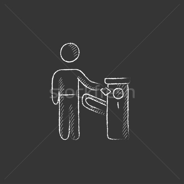 Man at car barrier. Drawn in chalk icon. Stock photo © RAStudio