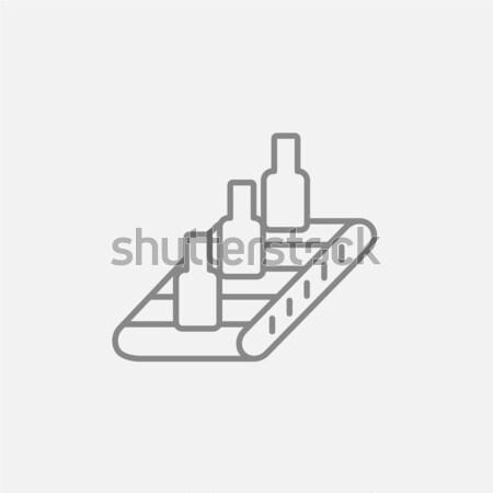 Conveyor belt system line icon. Stock photo © RAStudio