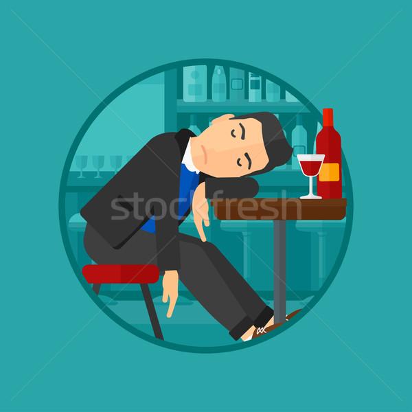 Dronken man slapen bar fles wijnglas Stockfoto © RAStudio