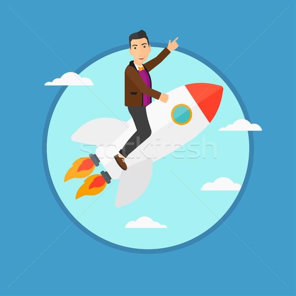 Negocios inicio hasta empresario vuelo cohete Foto stock © RAStudio