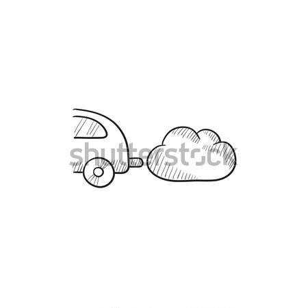 Araba egzoz kroki ikon vektör yalıtılmış Stok fotoğraf © RAStudio