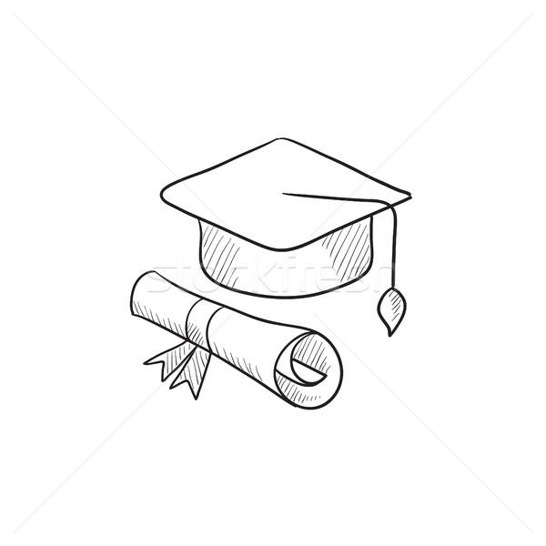 Graduação boné papel rolar esboço ícone Foto stock © RAStudio