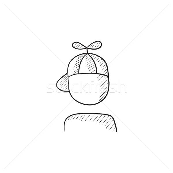 Erkek kapak pervane kroki ikon vektör Stok fotoğraf © RAStudio