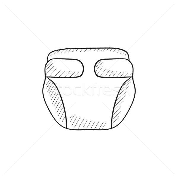 Stock photo: Baby diaper sketch icon.