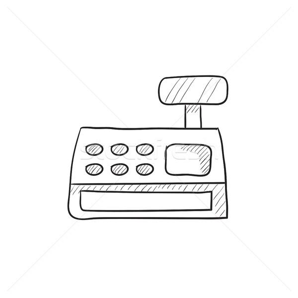 Caixa registradora máquina esboço ícone vetor isolado Foto stock © RAStudio