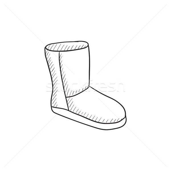 Fuzzy winter boot sketch icon. Stock photo © RAStudio