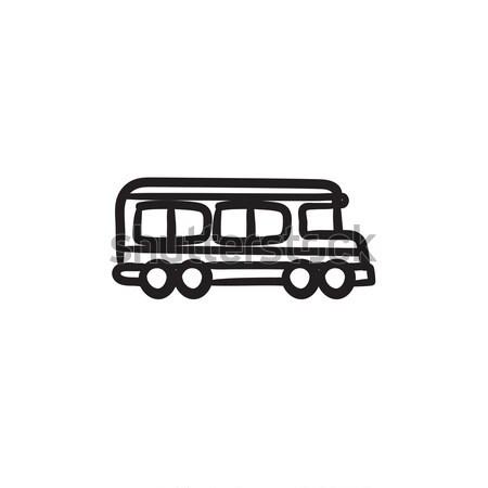 школьный автобус эскиз икона вектора изолированный рисованной Сток-фото © RAStudio