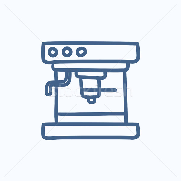 Koffiezetapparaat schets icon vector geïsoleerd Stockfoto © RAStudio
