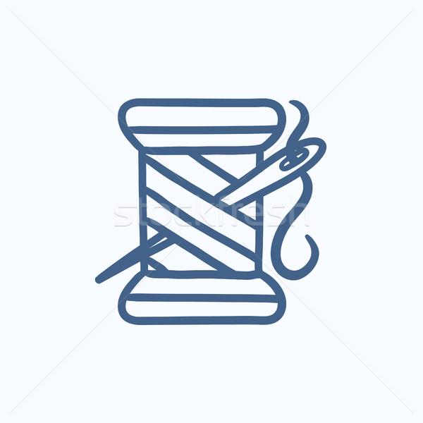 Makara iplik iğne kroki ikon vektör Stok fotoğraf © RAStudio
