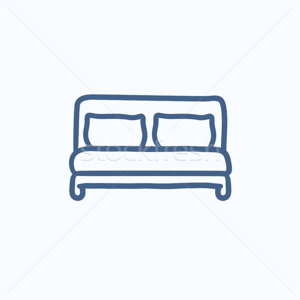 Podwoić bed szkic ikona wektora odizolowany Zdjęcia stock © RAStudio