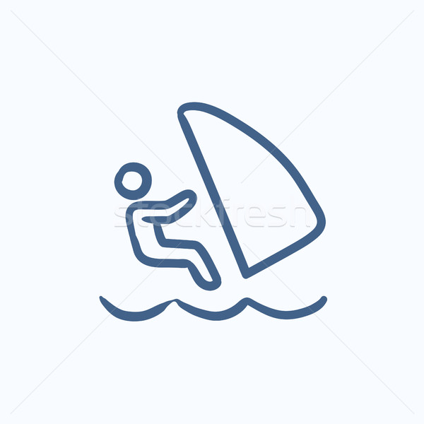 Wind surfing sketch icon. Stock photo © RAStudio