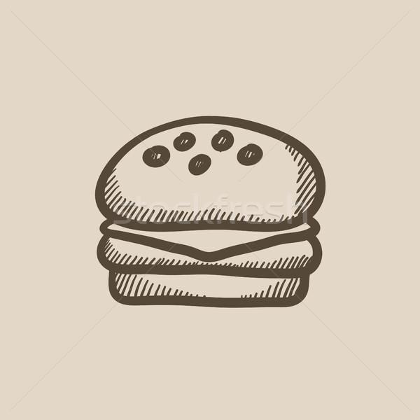 Hambúrguer esboço ícone vetor isolado Foto stock © RAStudio