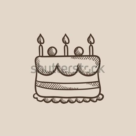 Stockfoto: Verjaardagstaart · kaarsen · schets · icon · vector · geïsoleerd